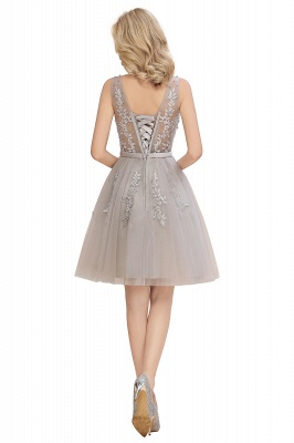 V-neck Lace Homecoming Dresses with Appliques | Cheap Short Party Dresses UK Online_16