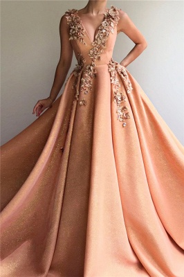 Sparkly Sequins V-Neck Sleeveless Prom Dress | Stylish Appliques Long Affordable Evening Dress UK_1