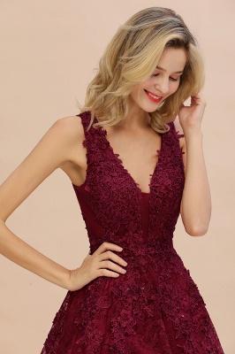 Knee Length Lace Appliques Homecoming Dresses | Burgundy Short Evening Dresses UK_8