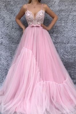 Spaghetti Straps V-Neck Pink Evening Dress UK | Sexy Lace Bodice  Long Prom Dress with Sash_1