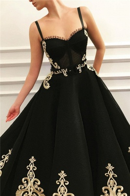 Straps Sweetheart Black Tulle Prom Dress Cheap Online | Sexy Sleeveless Champagne Evening Dress UK_2