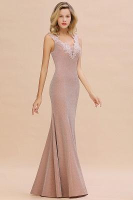 Sparkly V-neck Sexy Evening Dress UK | Flowers Sleeveless Pink Floor Length Formal Dresses_11
