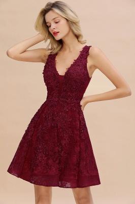 Knee Length Lace Appliques Homecoming Dresses | Burgundy Short Evening Dresses UK_3