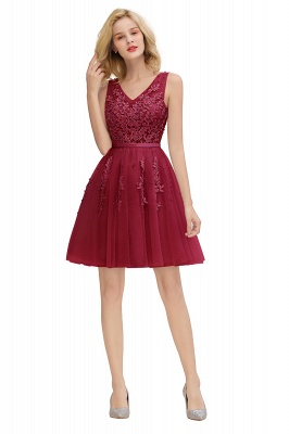 V-neck Lace Homecoming Dresses with Appliques | Cheap Short Party Dresses UK Online_27