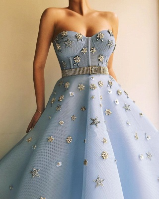 Sexy Strapless Beaded Flowers Prom Dress   Blue Tulle Long  Evening Dress UK with Beadning Sash_3