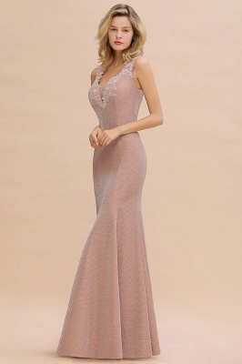 Sparkly V-neck Sexy Evening Dress UK | Flowers Sleeveless Pink Floor Length Formal Dresses_12