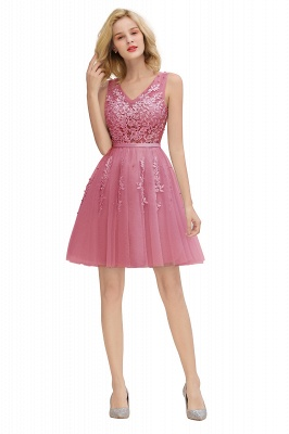 V-neck Lace Homecoming Dresses with Appliques | Cheap Short Party Dresses UK Online_26