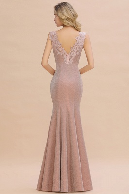 Sparkly V-neck Sexy Evening Dress UK   Flowers Sleeveless Pink Floor Length Formal Dresses_15