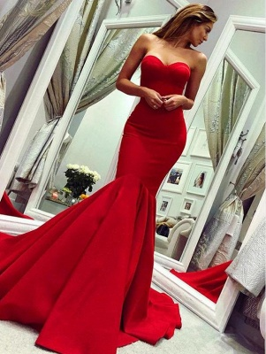 Red Sweetheart Open Back Sexy Evening Dresses UK | Mermaid Cheap Prom Dress Cheap Online