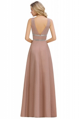 Sparkly Long Evening Dress with Shining Belt | Sexy Sleeveless Pink Formal Dress Cheap_12