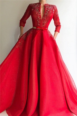 Sparkly Sequins Tulle V-Neck Red Evening Dress UK | Sexy Appliques Long Prom Dress Cheap_1