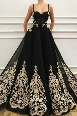 Straps Sweetheart Black Tulle Prom Dress Cheap Online | Sexy Sleeveless Champagne Evening Dress UK_1