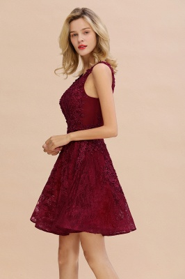 Knee Length Lace Appliques Homecoming Dresses | Burgundy Short Evening Dresses UK_7