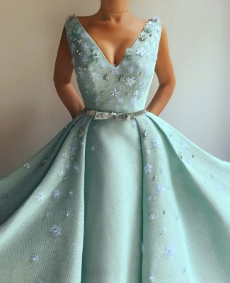 Sexy Sequins V-Neck Sleeveless Evening Dress | Flowers Pearls Long Prom Dress with Beaded Sash_2