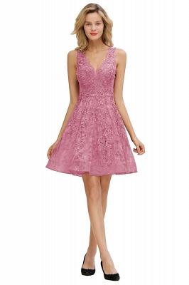 Knee Length Lace Appliques Homecoming Dresses | Burgundy Short Evening Dresses UK_2