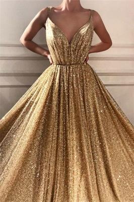 Chic Sequins Spaghetti Straps Cheap Evening Dress | Sparkling V-Neck Sleeveless Gold Prom Dress_2