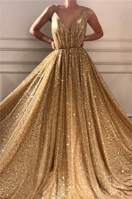 Chic Sequins Spaghetti Straps Cheap Evening Dress | Sparkling V-Neck Sleeveless Gold Prom Dress