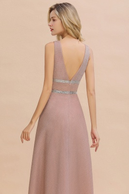Sparkly Long Evening Dress with Shining Belt | Sexy Sleeveless Pink Formal Dress Cheap_4