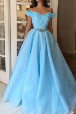 Sparkling Sequins Off the Shoulder Evening Dress UK | Sexy Sleeveless Beaded Cheap Prom Dress_1