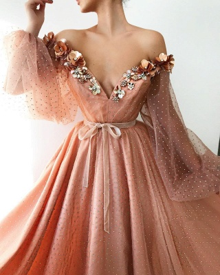 Sexy Off the Shoulder V-Neck Long Evening Dress UK | Cheap Tulle Beaded Long Sleeve Prom Dress_2