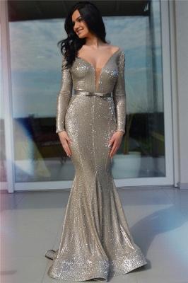 Sparkling Sequins Deep V-Neck Sexy Evening Dress UK  Cheap Long Sleeve Prom Dress_1