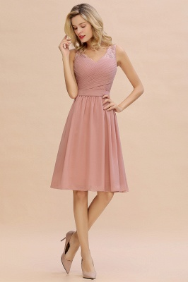 Lace Short Homecoming Dresses with Belt |  Sleeveless  Pink Cheap Party Dress UK_7