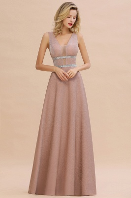 Sparkly Long Evening Dress with Shining Belt | Sexy Sleeveless Pink Formal Dress Cheap_6
