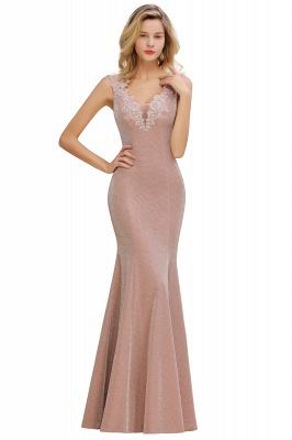 Sparkly V-neck Sexy Evening Dress UK | Flowers Sleeveless Pink Floor Length Formal Dresses_10