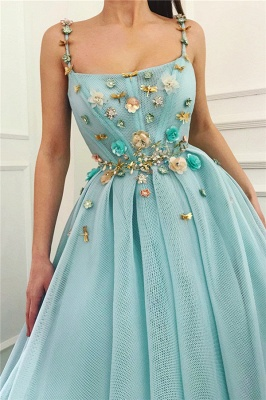 Spaghetti Straps Sleeveless Sexy Prom Dress | A Line Beaded Flowers  Evening Dress UK_2
