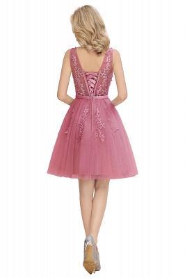 V-neck Lace Homecoming Dresses with Appliques | Cheap Short Party Dresses UK Online_19