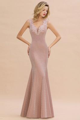Sparkly V-neck Sexy Evening Dress UK | Flowers Sleeveless Pink Floor Length Formal Dresses_1