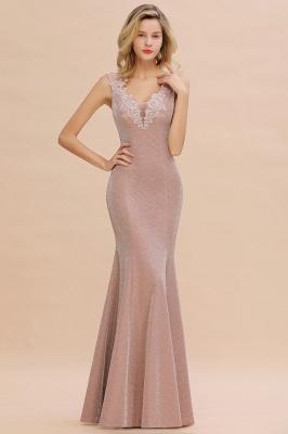 Sparkly V-neck Sexy Evening Dress UK | Flowers Sleeveless Pink Floor Length Formal Dresses_9