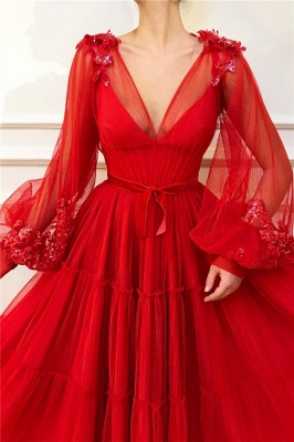 Cheap V-Neck Long Sleeve Red Evening Dress UK| Sexy Ball Gown Appliques Beaded Long Prom Dress_2