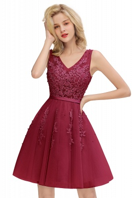 V-neck Lace Homecoming Dresses with Appliques | Cheap Short Party Dresses UK Online_3