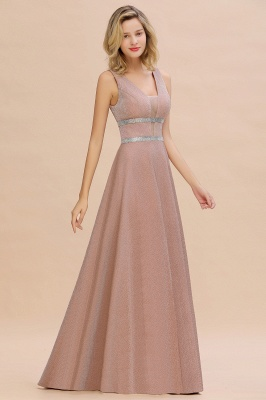 Sparkly Long Evening Dress with Shining Belt | Sexy Sleeveless Pink Formal Dress Cheap_8