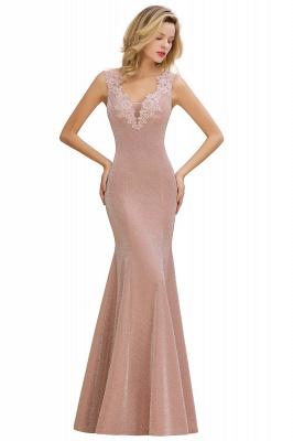 Sparkly V-neck Sexy Evening Dress UK | Flowers Sleeveless Pink Floor Length Formal Dresses_8