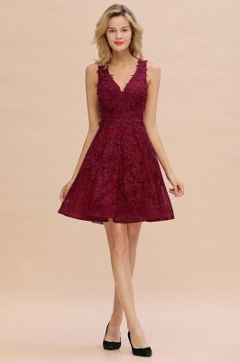 Knee Length Lace Appliques Homecoming Dresses | Burgundy Short Evening Dresses UK_17