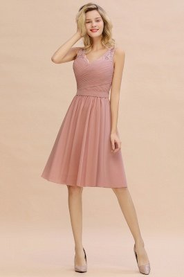 Lace Short Homecoming Dresses with Belt    Sleeveless  Pink Cheap Party Dress UK_8