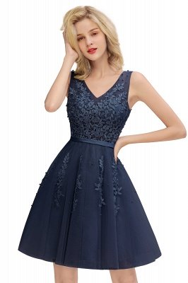 V-neck Lace Homecoming Dresses with Appliques | Cheap Short Party Dresses UK Online_4