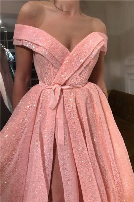 Sparkly Sequins Off The Shoulder Prom Dress |  Sleeveless Sexy Slit Long Evening Gowns UK_2