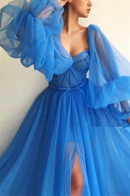 Long Sleeve Sweetheart Sheer Bodice Prom Dress |  Sexy Slit Blue Evening Dress UK Cheap_3