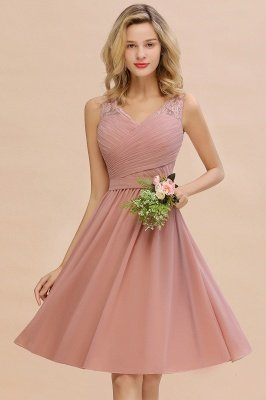 Lace Short Homecoming Dresses with Belt    Sleeveless  Pink Cheap Party Dress UK_12