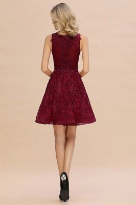 Knee Length Lace Appliques Homecoming Dresses | Burgundy Short Evening Dresses UK_9