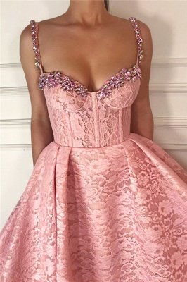 Cheap Ball Gown UK Evening Dress | Gorgeous Pink Lace Beaded Long Prom Dress_2