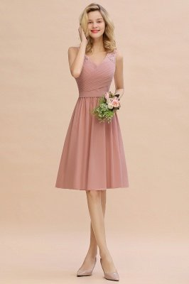 Lace Short Homecoming Dresses with Belt    Sleeveless  Pink Cheap Party Dress UK_11