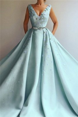 Sexy Sequins V-Neck Sleeveless Evening Dress | Flowers Pearls Long Prom Dress with Beaded Sash_1