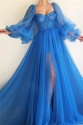Long Sleeve Sweetheart Sheer Bodice Prom Dress |  Sexy Slit Blue Evening Dress UK Cheap_1