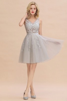 V-neck Lace Homecoming Dresses with Appliques | Cheap Short Party Dresses UK Online_5