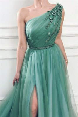 Chic One Shoulder Green Tulle Prom Dress with Beads |  Sexy Slit Long Prom Dress with Sash_2