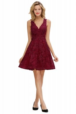 Knee Length Lace Appliques Homecoming Dresses | Burgundy Short Evening Dresses UK_10